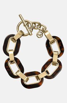Michael Kors Tortoiseshell Chain Link Bracelet.
