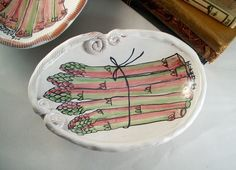 Majolica ceramic footed oval bowl asparagus hand painted hand built by Majoleeka on Etsy