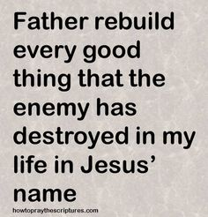Lord God, Restore to me everything that the enemy has stolen from me. I pray in Jesus' name. Amen.