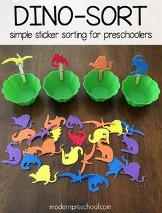 Dinosaur foam sticker sorting activity for toddlers & preschoolers | Modern Preschool