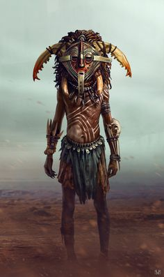 Shaman - New Game Art Character - concept, Evozon Game Studio Character Concept, Character Art, Concept Art, Dungeons And Dragons, Estilo Tribal, Tribal Warrior, Orc Warrior, Sword And Sorcery, Afro Art