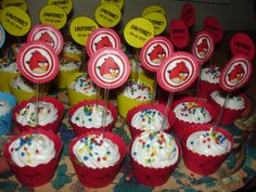 Cupcakes, wrappers and toppers