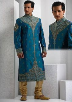 Blue Raw Silk Sherwani Online Shopping: MCD231