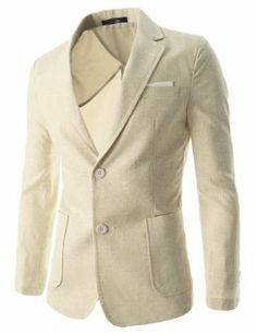(JEJ218-BEIGE) TheLEEs Mens Single Breasted Notched Lapel 2 Button Linen Blazer