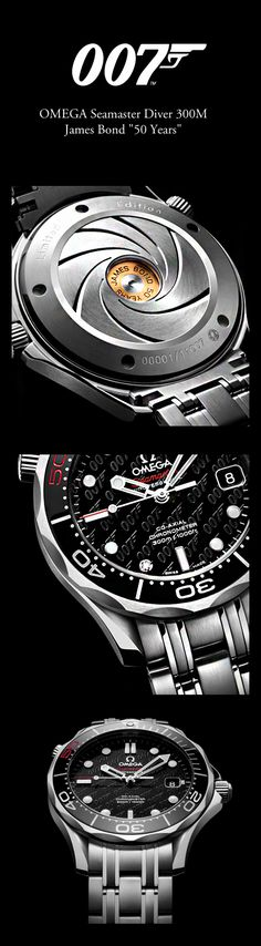 OMEGA Seamaster Diver watch celebrating 50 Years of James Bond Dream Watches, Fine Watches, Luxury Watches, Rolex Watches, Wrist Watches, Amazing Watches, Beautiful Watches, Cool Watches, Best Watches For Men