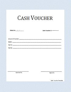 A cash voucher can be basic document or receipt or can be designed to look more proper. It includes information about the recipient, the benefactor, cash amount and the time restraints.