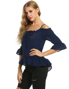 5dd02f0fc10141 ACEVOG Blue Lace Up Cold Shoulder 3 4 Sleeve Ruffles Chiffon Blouse Casual  Tops