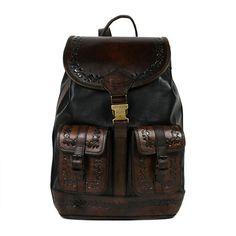 c403d0f3333ea Beara Beara Santa Cruz Leather Backpack - Black Embossed and other apparel