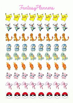 72 Printable POKEMON Stickers by FantasyPlanners on Etsy