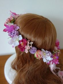 THE HANY のドレスに♡ ピンク&パープルのリボン付き花冠☆ |Ordermade Wedding Flower Item MY FLOWER ♪ まゆこのブログ
