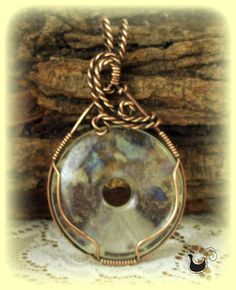 Copper Pendent Wire Sculpted Hematoid Quartz Stone by ChickNWire, $38.00