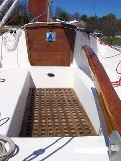 "Com-Pac 16 and In the Hutchins Company wanted to ""build a small but highly efficient sailboat"". They contacted famed yacht desi. Boat Canopy, Sailboat Interior, Small Sailboats, Sundance Kid, Kayak Adventures, Inside Outside, Small Boats, Wooden Boats, Boat Building"