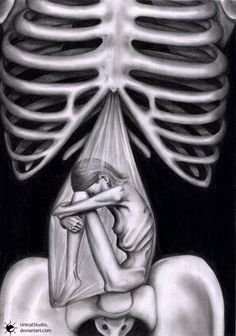 Ossiculum / Anorexis by UnicatStudio on deviantART; 2005, traditional art, pencil