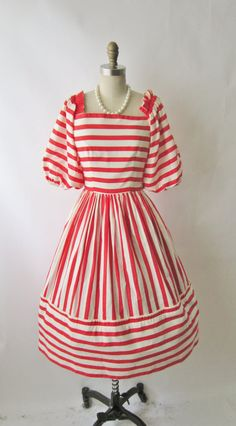 Striped Victor Costa Dress // Vintage 1980's by TheVintageStudio, $78.00