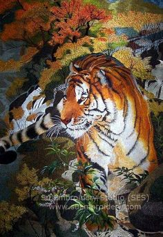 Tiger, Chinese silk embroidery art, all hand embroidered with silk thread, Suzhou embroidery, Su Embroidery Studio