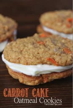 Carrot Cake Oatmeal Cookies Recipe.  I don't know why they're not calling them carrot cake oatmeal cream pies, but that's what I'm going to call them when I make them.