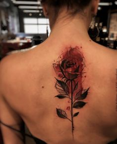 Watercolor rose on back by Felipe Rodrigues Fe Rod