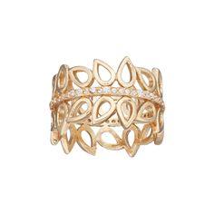 LC Lauren Conrad Cubic Zirconia Openwork Teardrop Ring, Women's, Size: 7, Gold