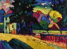 Wassily-Kandinsky-Murnau-–-Landschaft-mit-grünem-Haus-oil-on-board-1909-est.-£15-25-million.jpg (3859×2830)