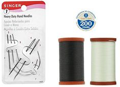 Upholstery Repair Kit Coats  Clark Extra Strong Upholstery Thread 1 Naturel Spool 1 Black Spool 150Yard Includes a Set of Heavy Duty Assorted Hand Needles 7count * Click on the image for additional details.