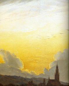 1817 Caspar David Friedrich Neubrandenburg dans la brume du matin, Détai