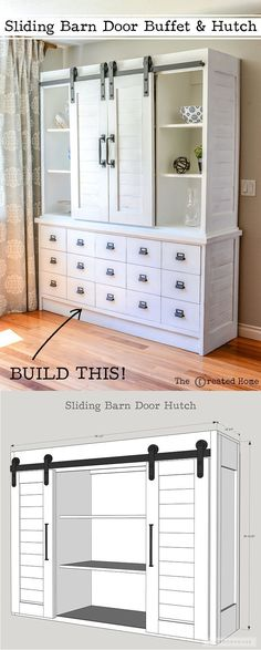 diy furniture How to build a gorgeous DIY farmhouse sliding barn door hutch with plans by Jen Woodhouse. Complete with a matching DIY farmhouse buffet. Furniture Projects, Furniture Plans, Furniture Makeover, Home Projects, Home Furniture, Furniture Design, Country Furniture, Building Furniture, Furniture Hardware