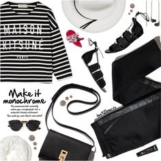 Make It Monochrome by ioanathe92liner on Polyvore featuring Maison Kitsuné, Calypso Private Label, Betsey Johnson, Christian Dior, Kreafunk, TROA, Topshop and monochrome