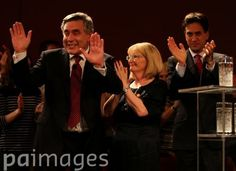 Former Prime Minister Gordon Brown takes the applause after speaking to an audience at the Glasgow Royal Concert Hall watched by Labour leader Ed Milliband (far right) and Margaret Curran whilst on the Scottish Referendum campaign trail.