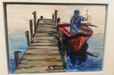George Traut on boat.  Acrylic on boxed canvas, framed.  250x200mm.  R350