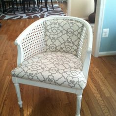 Cane barrel chair--just scored a similar design--love the white and graphic print