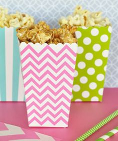 Popcorn Boxes Polkadot Striped and Chevron (Set of 12) #popcorn #popcornbox