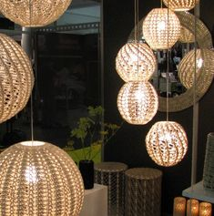 Always on the hunt for unique lighting, I stumbled across these crochet lampshades by Cape Town designer and artist Dani Le Roy of M. Light In, Lamp Light, Crochet Lampshade, Crochet Home Decor, Light Fittings, Lampshades, Cozy House, Home Lighting, Home Furnishings