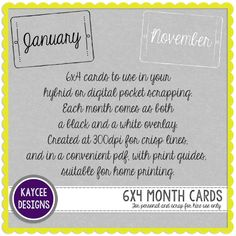 New freebie! month journal card overlays in black and white. The black ones are also provided as a ready-to-print pdf with handy trim gu. Journal Cards, Layout Design, Overlays, Layouts, My Photos, About Me Blog, Pdf, Prints, Black