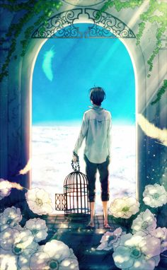 Blue Skies, , anime boy, , clouds, , cage, , flowers