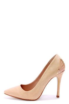 Just ordered these today... Mixx Shuz Eliza Nude Microfiber Gold Cage Pointed Pumps at LuLus.com. Hope I like them in person, I think they are super fab!
