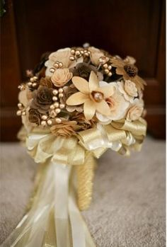 This forever bouquet is made of wooden flowers. It will complete any look you desire! Whether youre a bride looking to complete her wedding day look or simply searching for a permanent floral centerpi Copper Wedding, Gold Wedding, Wedding Bride, Dream Wedding, Wedding Day, Wedding Anniversary, Wedding Stuff, Wedding Flower Decorations, Wedding Themes