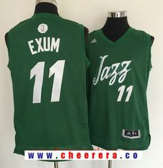 32383e35213 Men's Utah Jazz #11 Dante Exum adidas Green 2016 Christmas Day Stitched NBA  Swingman Jersey