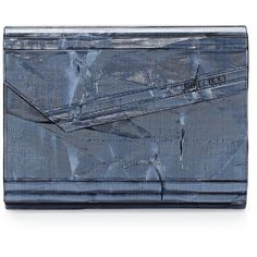 Jimmy Choo Candy Resin Crinkle Clutch Bag (¥55,490) ❤ liked on Polyvore featuring bags, handbags, clutches, denim, jimmy choo handbags, chain-strap handbags, jimmy choo clutches, blue handbags and blue purse