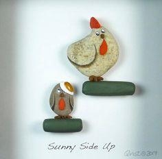 SUNNY SIDE UP . 6x6 shadow box Pebble Art natural River