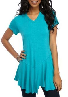 New Directions Turquoise Bliss Solid Asymmetrical Hem Top