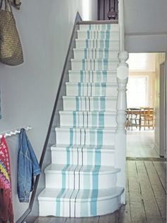 aqua & white painted stairs: instead of a runner...