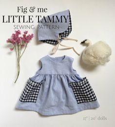Doll clothing sewing pattern, DIY doll clothes, PDF tutorial for sewing doll clothing, Little Tammy Pattern by Fig and Me.