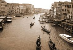 """Gondolas Along the Grand Canal"" by Donna Corless, Auburn, AL // Gondolas Along the Grand Canal.  Venice, Italy.  Sepia toned photography by Donna Corless. // Imagekind.com -- Buy stunning, museum-quality fine art prints, framed prints, and canvas prints directly from independent working artists and photographers."
