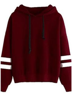 MIOIM Women's Autumn Winter Warm Fleece Hooded Sweatshirt Fashion Striped Splicing Sleeve Loose Hoodies Pullover Jumper Tops - Our Store Ali Hoodie Sweatshirts, Pullover Sweaters, Sweat Shirt, Pull Sweat, Mode Streetwear, Mode Outfits, Long Sleeve Tops, Clothes, Image Link