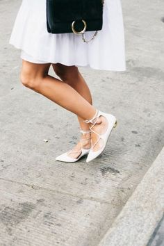 Beautifully light & fresh … white summer pintuck dress with a cute black & gold purse & some stylish Aquazzura flats Mode Shoes, Up Shoes, Me Too Shoes, Moda Chic, Lace Up Flats, Strappy Flats, Pointed Flats, Sandals, Mein Style