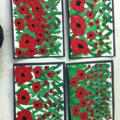 Remembrance day or Veterans Day field of poppies. Talk about perspective: closer things are bigger, far away is smaller. Do in crayon and water color. Remembrance Day Art, Project Ideas, Projects, Veterans Day, Arts, School Stuff, Closer, Poppies, Perspective
