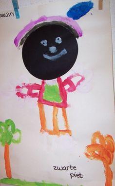 Zwarte cirkel op papier, laat de kinderen het pietje afmaken.