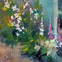 Side Garden  oil, 6x6 inches  SUPER SUMMER SALE   sold