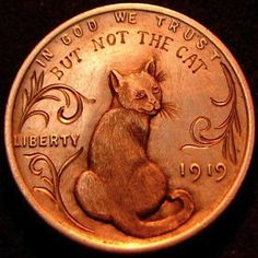 HOWARD THOMAS HOBO PENNY - DON'T TRUST THE CAT - 1919 LINCOLN CENT
