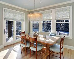window covering for sliding door and windows in kitchen.